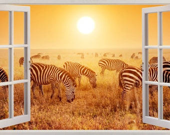 Animals Zebras Safari Wall Stickers, Wall Mural, Wall Sticker Art Decal Mural  300