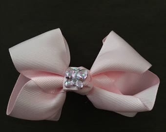 Light Pink Hairbow with Crystal Butterfly