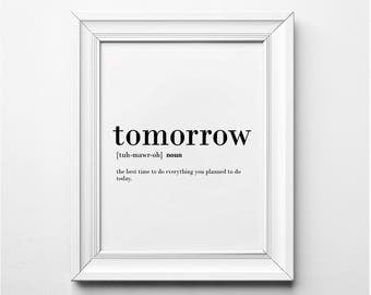 Tomorrow Definition, Procrastination Print, Printable Wall Art, Word Art, Funny Definition Art, Funny Printable Art, Instant Download