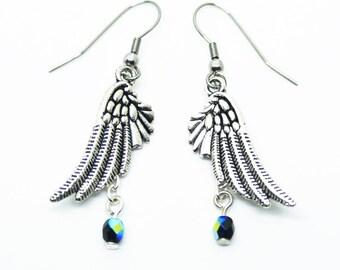 Wing Earrings, Black AB Glass Beads, Silver look
