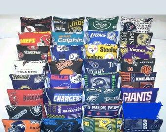 Set of 8 cornhole bean bags pick your 2 favorite football teams colors FREE SHIPPING