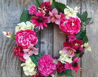 Spring Wreath/Spring Decor/Peonies/Hydrangeas/Pink/Green/Tropical/Spring Florals/Floral Decor/Fuscia/Summer/Gift Ideas/Birthday/Mothers Day