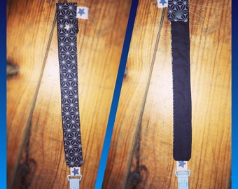 Navy Blue geometric fabric pacifier clip