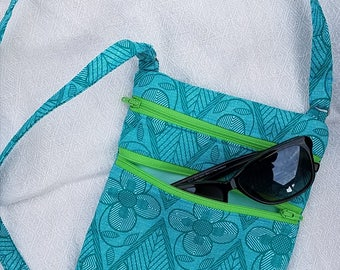 Turquoise African Print double zipper Hipster bag