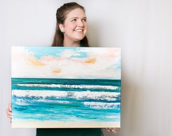 "Original ocean painting, ""Boundless"" measuring 24x18inches"