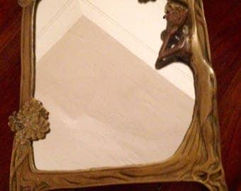 60's Reproduction Brass Art Nouveau Vanity Table Mirror