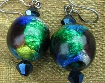Art Deco Venetian Rainbow Foil Large Glass Beads Earrings