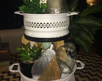 Tiered tray home decor accent farmhouse centerpiece w/ accessories