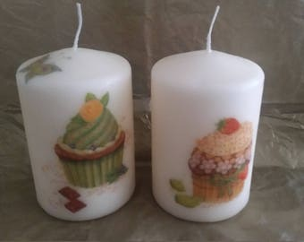 Birthday time - set of two Decoupage Candles