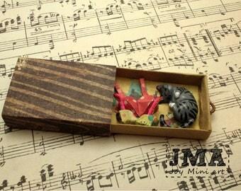 Matchbox Art- Kitty in a drawer / Diorama / OOAK