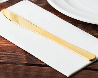 "7.25"" Gold Metallic Heavyweight Plastic Knife  - 25 Plastic Gold Knife, Wedding, Showers, Parties. Silverware , Gold Plastic Cutlery."