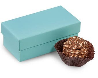 "Double Truffle Boxes Aqua 3-1/4x1-5/8x1-1/4""- 2 Pc Box  candy box, wedding, gift wrap, packaging  Decorating  24 boxes"