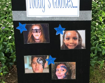 Face Painting Choice Board with Easel