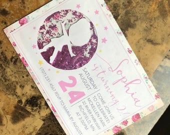 Ballerina Birthday Shaker invitations