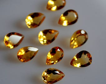 7x10 mm AAA citrine pear faceted - top grade gemstone AAA quality