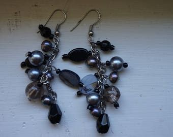 Handcrafted black and grey earrings