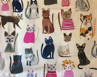 Windham Organic Cotton Cool Cats Quilting Fabric BTY