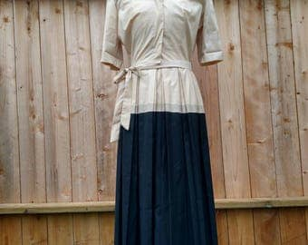 1940's Military Style Dress with Pleated Skirt