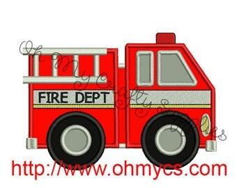 Fire Truck Applique Embroidery Design