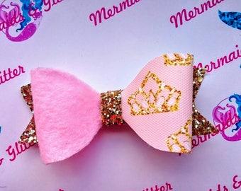Princess crown gold glitter hair bow