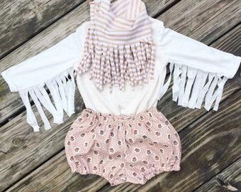 Girls clothing- toddler girls- baby girl clothing- tops- long sleeves- fly away fringe top ivory