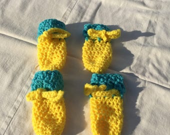 Crochet dog booties etsy crochet dogpet bootiesshoes for small to medium dogs in yellow and aqua ccuart Images