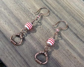 Earrings fancy patinated copper wire and red/white striped beads