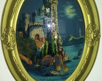 Castle in Belgium Reverse Glass Painting