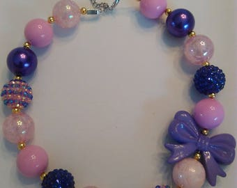 Purple and Pink bow necklace