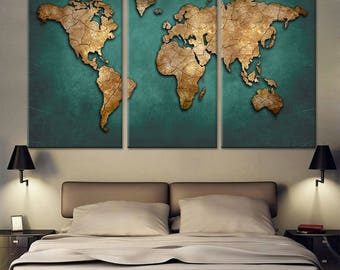 World Map Canvas Art, Huge Map Canvas Print, Large Map canvas Print, World Map Wall art 3 piece canvas Print, Map Wall Poster, Framed