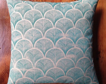 Teal Handmade Block Printed Pillow with Feather Insert 18X18
