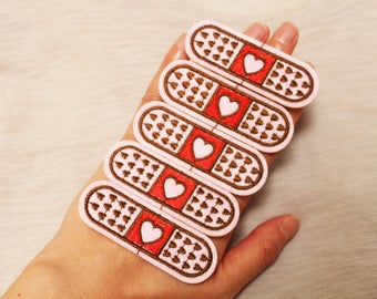 Love brand-aid patch, iron-on patch, embroidered patch, DIY