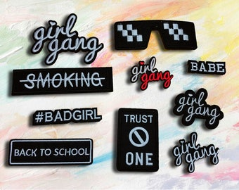 girl gang patch,back to school patch ,bad girl patch,embroidered patch,trust no one patch,iron on patch