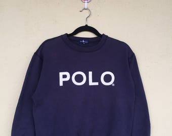 Rare!!POLO By Ralph Lauren Printed Spell Out Big Font Polo Darkblue Crew Neck Sweatshirt Polo By Ralph Lauren Clothing Size Medium