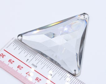 68mm Triangle Clear Acrylic stone// Sew-on