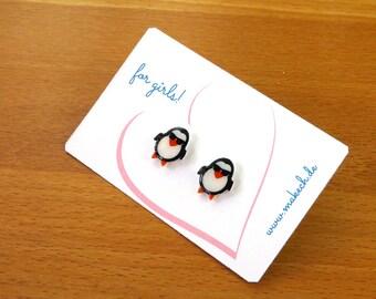 Girl children jewelry ear studs earrings 925 Silver penguins