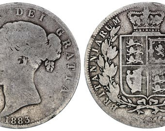 1883 Victoria halfcrown silver coin of Great Britain