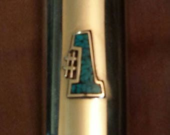 Vintage #1 Silver Chrome Turquoise Cigarette Tobacco Candle Lighter Cover Case 80's Rare