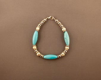 Egyptian Turquoise and Chinese Freshwater Pearl Necklace