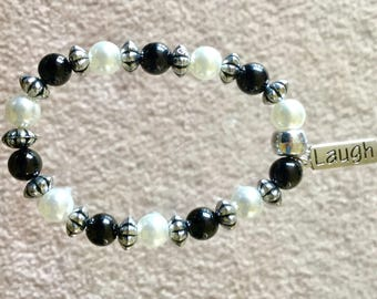 BLACK AND IVORY Pearl Bead Bracelets With Silver Inspirational Charm
