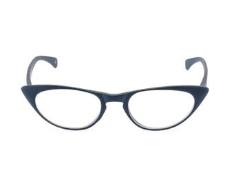 1950s 60s style Navy Blue CAT EYE Rxable frame or reading glasses +1.25 to +3.00 NEW made to original vintage design best seller 'Peggy''