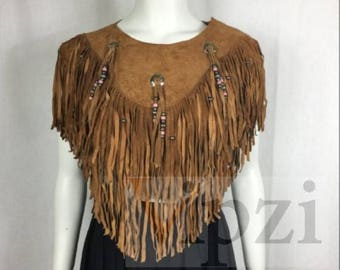 Vipzi New Women's Western wear Suede Shawl Capelet Poncho with Fringe ONE SIZE