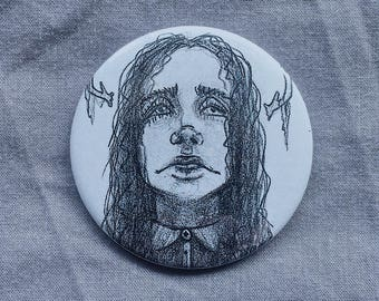 Girl badge - 58mm - Pinback button - Gothic - Antlers - Original design
