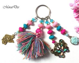 Keychain Pom Pom - Keychain Butterfly - Keychain Flowers - Pink / Blue Keychain - Gift for Girls - Gift Women