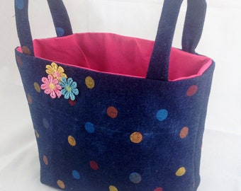 Foldable and Soft Fabric basket--denim polka dots