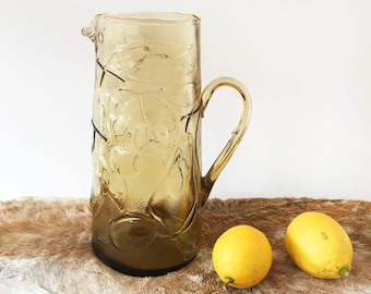 Vintage yellow embossed glass water jug - boho bohemian eclectic jungalow style decor home - drinking water glasses - fruit pitcher #0175