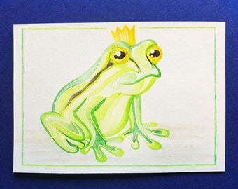 Quarell postcard / greeting card frog Prince