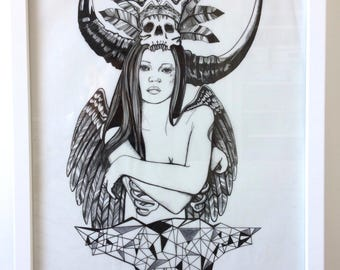 Kate moss is a witch doctor floating in outer space - Original pen drawing