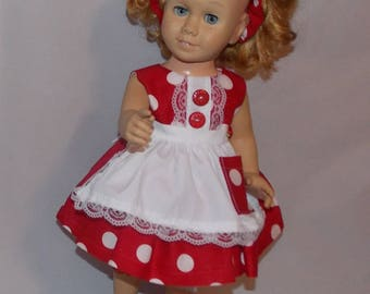 """4 Piece Set fits 20"""" Tall Talking Chatty Cathy Dolls. Dress, Apron, Headband Bow & Bloomers. Vintage Toy Doll Clothes. Handmade in the USA."""