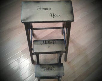 Honor Your Mother and Father 1950s Vintage Children's Fold Up Step Stool